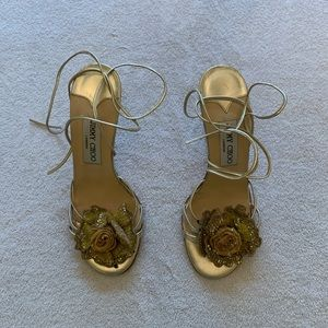 Jimmy Choo Strappy Sandal with Beaded Flower